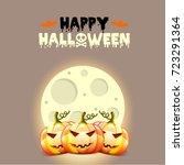 halloween postcard with pumpkins   Shutterstock . vector #723291364