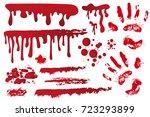 set realistic bloody streaks....   Shutterstock .eps vector #723293899