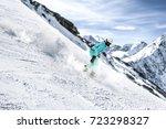 winter skier  | Shutterstock . vector #723298327