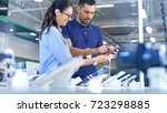in the electronics store... | Shutterstock . vector #723298885