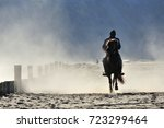 a man riding a horse with dusty ...   Shutterstock . vector #723299464