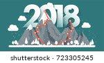 mountains in winter 2018 peak... | Shutterstock .eps vector #723305245