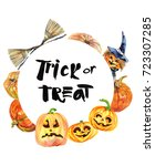watercolor trick or treat.... | Shutterstock . vector #723307285