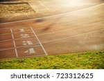 start running track in stadium... | Shutterstock . vector #723312625