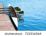 rowing boat at pier | Shutterstock . vector #723316564