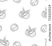 seamless pattern with coconut.... | Shutterstock .eps vector #723325519