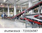 big empty modern workshop with... | Shutterstock . vector #723326587