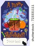 vector image of pumpkin  bowler ... | Shutterstock .eps vector #723331111