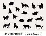 cats silhouette isolated doodle ...   Shutterstock . vector #723331279