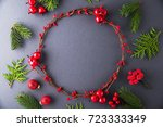 frame with christmas wreath ... | Shutterstock . vector #723333349