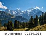 panorama of the swiss alps in... | Shutterstock . vector #723341095
