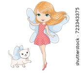 cute girl with cat.love cards...   Shutterstock .eps vector #723343375