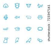 set of 16 editable zoo outline...