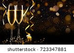 two glasses of champagne with... | Shutterstock . vector #723347881