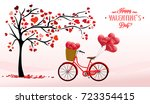 valentine's day background with ... | Shutterstock . vector #723354415