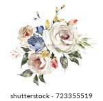 oil painting flowers. floral... | Shutterstock . vector #723355519