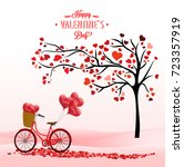 valentine's day background with ... | Shutterstock . vector #723357919