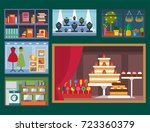 vector flat design restaurant... | Shutterstock .eps vector #723360379