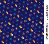 chanukah pattern with dreidels | Shutterstock .eps vector #723361339