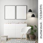 mock up poster frame in hipster ... | Shutterstock . vector #723364591