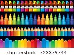 rainbow design border and frame ... | Shutterstock .eps vector #723379744