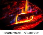 hot flame of camp fire in... | Shutterstock . vector #723381919