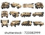 truck military beige armored... | Shutterstock . vector #723382999