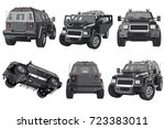suv car black shiny automobile... | Shutterstock . vector #723383011