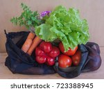 reusable mesh produce bags with ... | Shutterstock . vector #723388945
