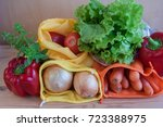 reusable mesh produce bags with ... | Shutterstock . vector #723388975