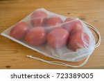 reusable mesh produce bag with... | Shutterstock . vector #723389005