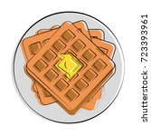 waffle with butter melting on... | Shutterstock .eps vector #723393961