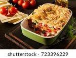 half eaten dish of healthy... | Shutterstock . vector #723396229