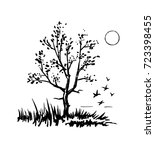 tree silhouette. grass and... | Shutterstock . vector #723398455