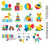 colorful children toys icons | Shutterstock .eps vector #72341281