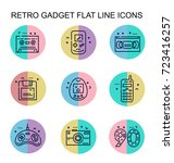 round  flat line icons with... | Shutterstock .eps vector #723416257