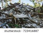 large pile of rubbish  debris... | Shutterstock . vector #723416887