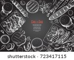 grill and bar menu design... | Shutterstock .eps vector #723417115