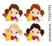 vector cute little girls with... | Shutterstock .eps vector #723417991