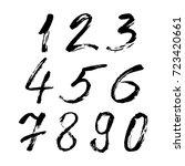set of calligraphic numbers... | Shutterstock .eps vector #723420661