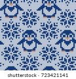 penguin jacquard knitted... | Shutterstock .eps vector #723421141