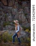 beautiful fashionable girl... | Shutterstock . vector #723429895