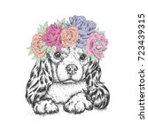 a beautiful dog in a wreath of... | Shutterstock .eps vector #723439315