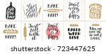 set of vector bakery lettering... | Shutterstock .eps vector #723447625