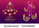 happy diwali festival card with ... | Shutterstock .eps vector #723448681