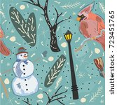 seamless winter pattern with... | Shutterstock .eps vector #723451765