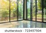 empty glass room corner with... | Shutterstock . vector #723457504