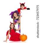 Three Girls In Halloween Fancy...
