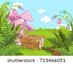 fantasy landscape with... | Shutterstock .eps vector #723466051