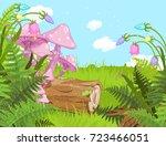 fantasy landscape with... | Shutterstock .eps vector #723466051